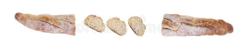 Fatias do Baguette, fundo acima isolado, branco, fim, disposição de projeto foto de stock royalty free