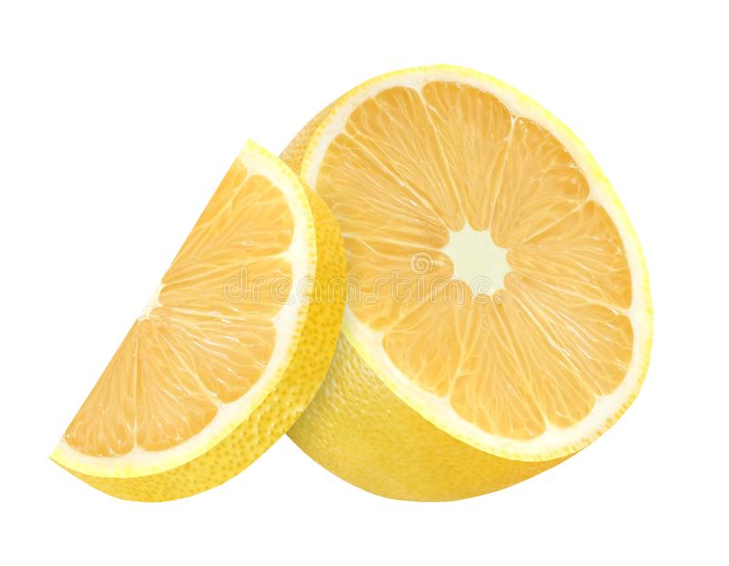 Fatias do limão dois cortadas ao meio dentro do amarelo médio isolado no fundo branco com trajeto de grampeamento fotografia de stock royalty free