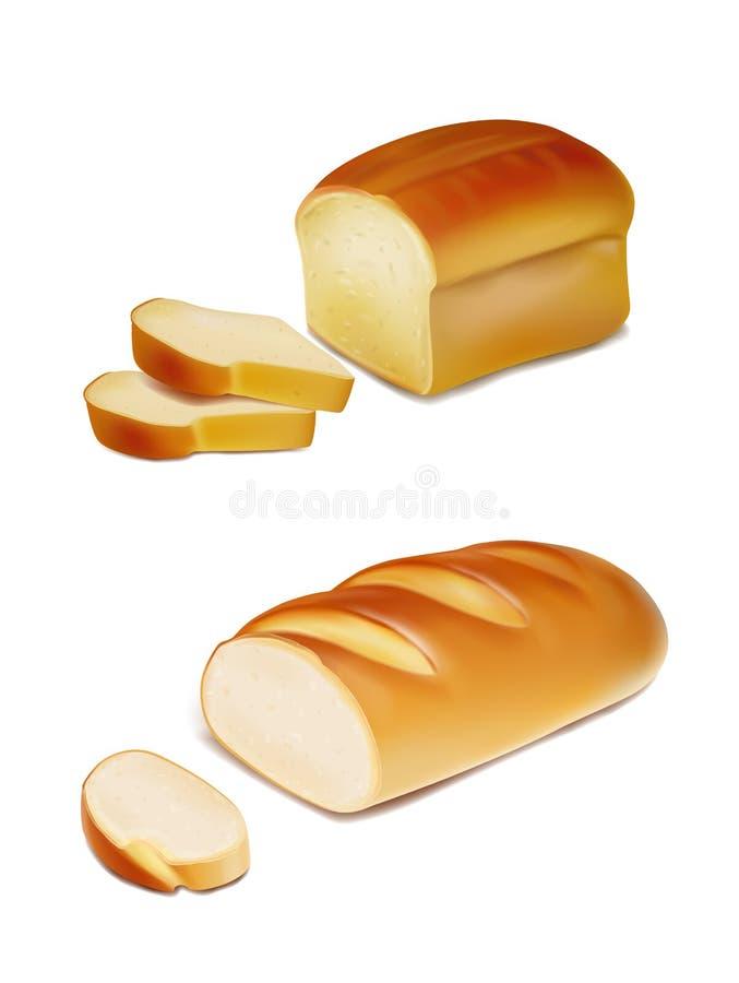 Fatias do pão e naco branco realísticos ilustração do vetor