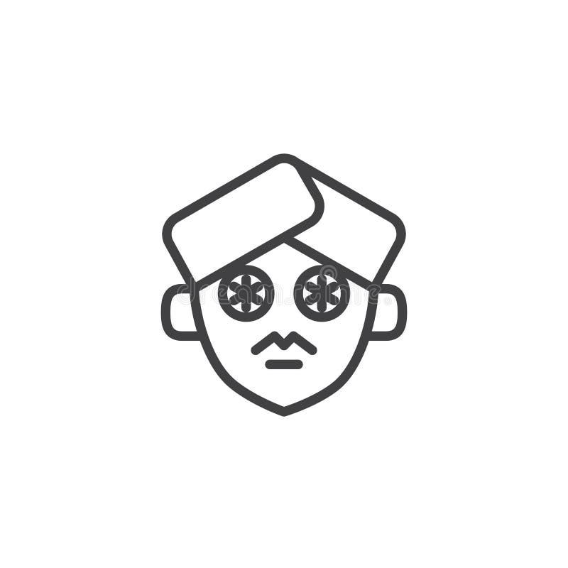 Fatias do pepino no ícone do esboço da cara ilustração do vetor
