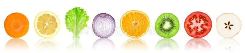 Fatias frescas das frutas e legumes ilustração stock