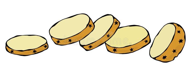 Fatias redondas da batata Metade da batata e dos cortes da batata Produto fresco da colheita da exploração agrícola Ingrediente d ilustração royalty free