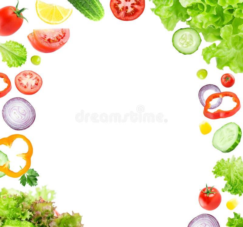 Fatias vegetais de queda misturadas ilustração royalty free
