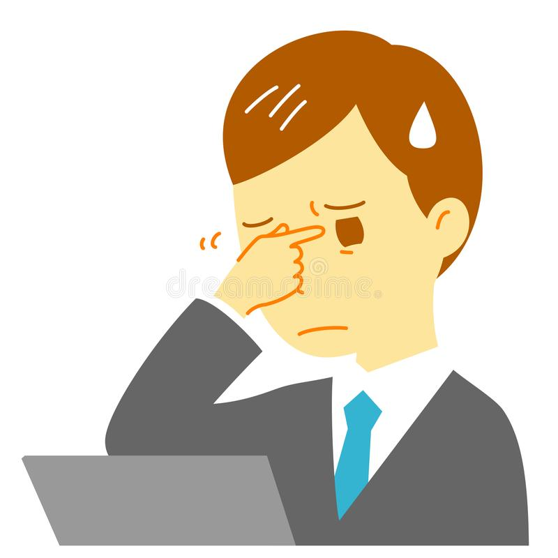 Fatiga visual de Digitaces, ordenador, hombre stock de ilustración