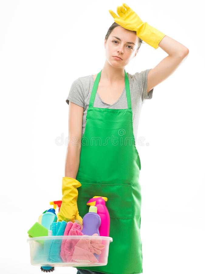 Fatigué après nettoyage photos stock