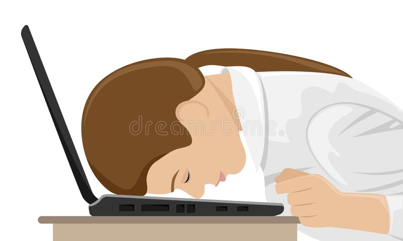 Fatigué au travail, la fille est tombée la tête la première sur l'ordinateur portable illustration stock