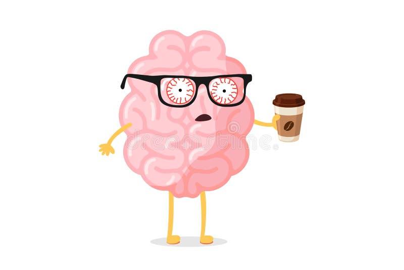 fatigue fatiguée mauvaise émotion mignon personnage du cerveau humain avec tasse de café chaude Réveil de l'organe central du sys illustration stock