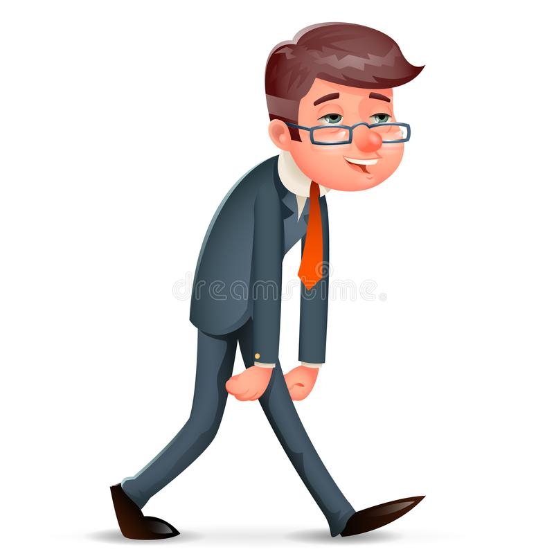 Fatigue Pleased Happy Satisfied Tired Weary Businessman Walk Cartoon Design Character Vector Illustration. Fatigue Pleased Happy Satisfied Tired Weary stock illustration