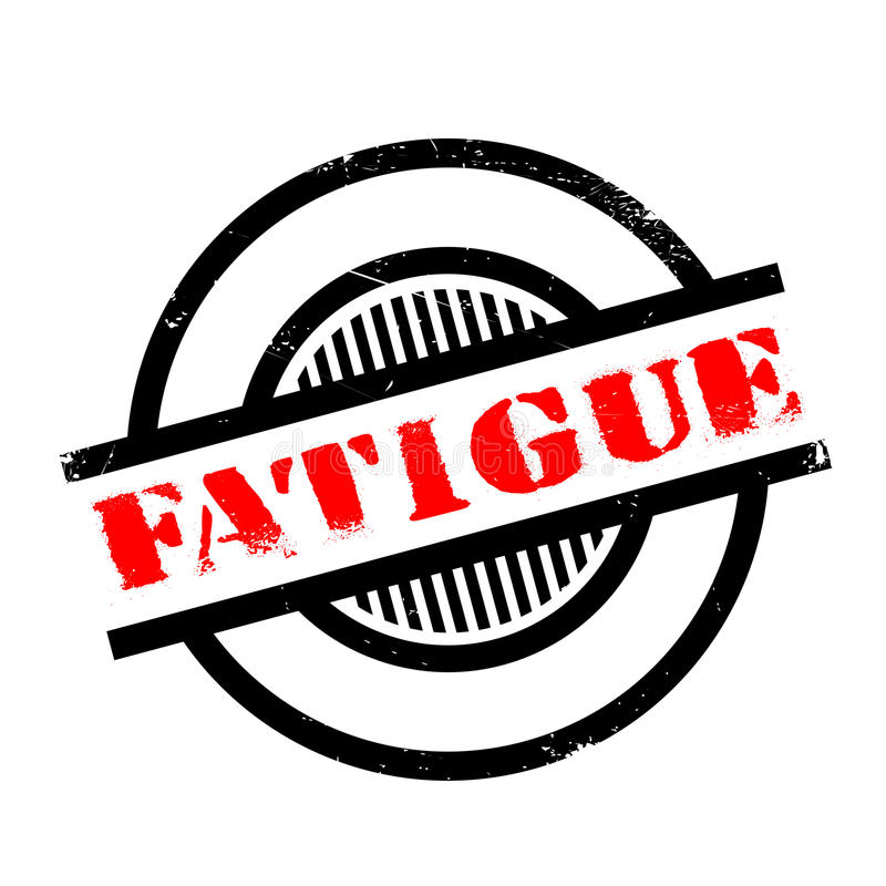 Fatigue rubber stamp. Grunge design with dust scratches. Effects can be easily removed for a clean, crisp look. Color is easily changed royalty free illustration