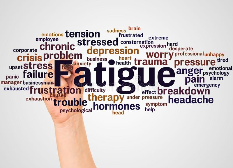 Fatigue word cloud and hand with marker concept royalty free stock image