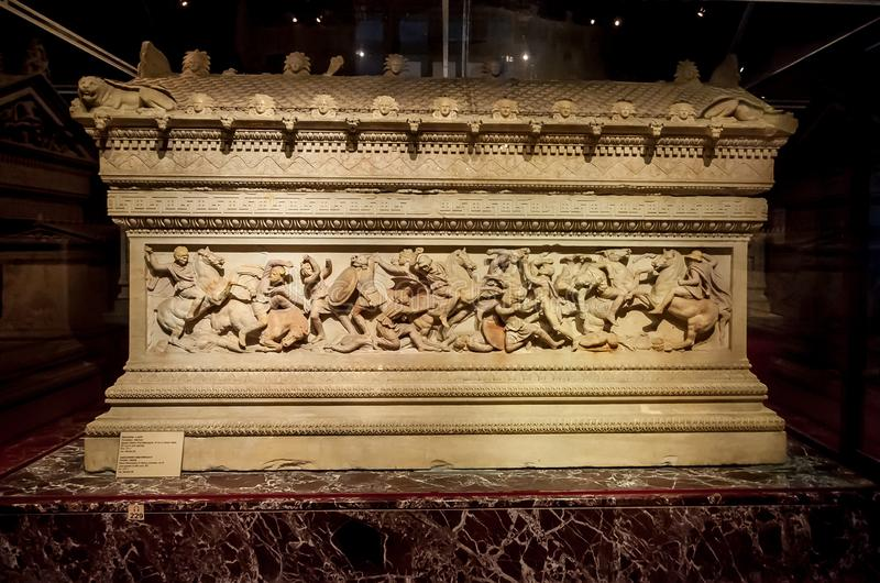 Fatih, Istanbul / Turkey - 01 30 2014: Great Alexander`s Sarcophagus in Istanbul Archaeology Museum. The sarcophagus has a battle. Scene between the Macedonians stock photos