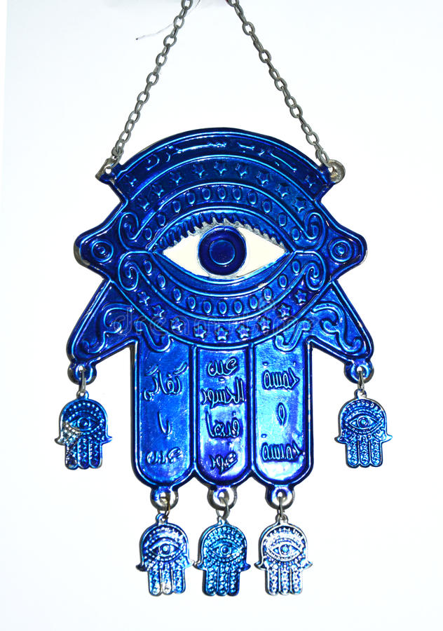 Fatima hand Hamsa. Fatima hand with blue eye folklore to avoid envy in folkloric cultures, Hamsa with Arabic writings script Hamsa-symbol of protection against stock photography
