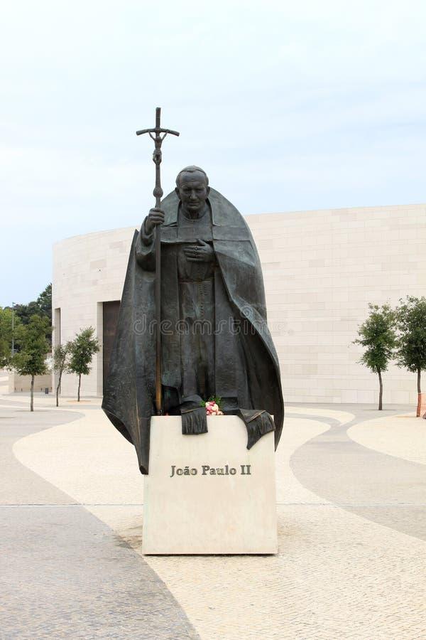 fatima ii约翰・保罗葡萄牙教皇雕象 免版税图库摄影