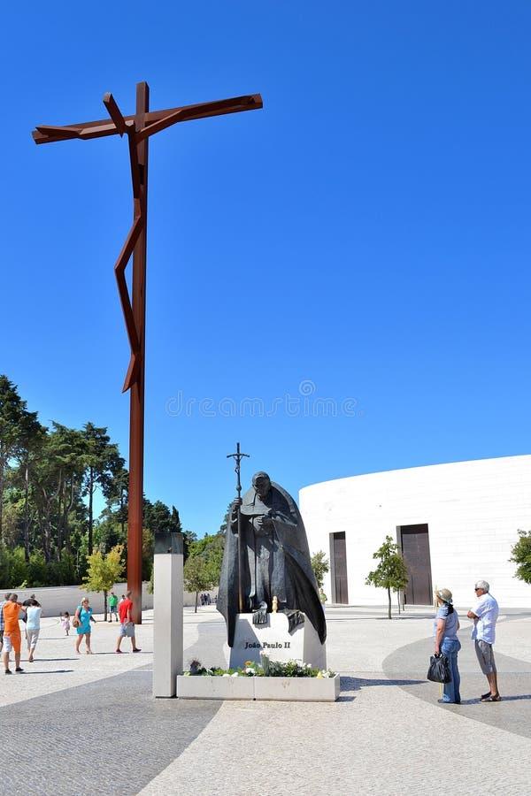 fatima ii John Paul pope statua obraz stock