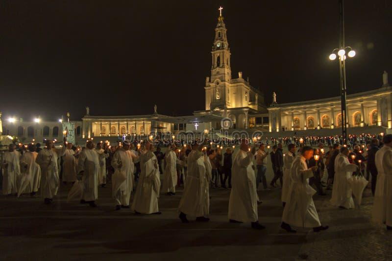 Fatima, Portogallo, l'11 giugno 2018: Celebrazioni di sera allo squa fotografia stock libera da diritti