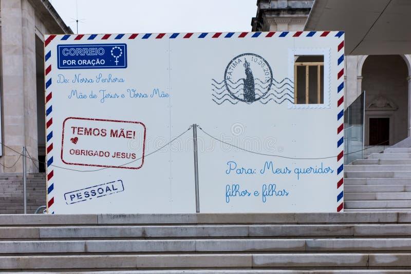 Fatima, Portugal, o 11 de junho de 2018: Letra da mãe do deus a h imagem de stock royalty free