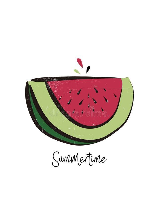 Fato colorido dos dias ensolarados da aflição do cartaz do verão da melancia ilustração do vetor