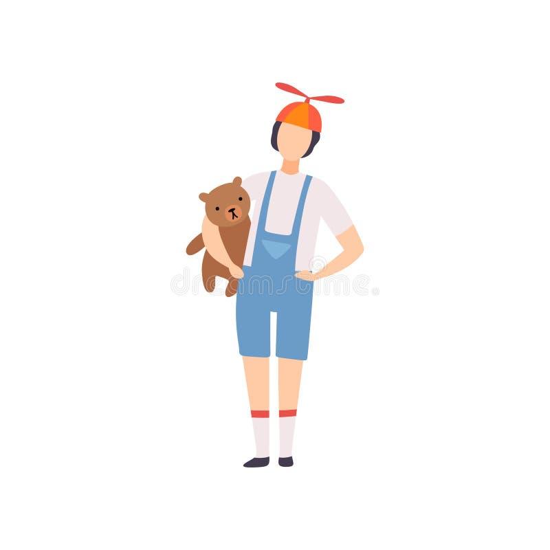 Fato-macaco vestindo do homem novo com posição do tampão da hélice com Teddy Bear, bola de disfarce, elemento do projeto do parti ilustração do vetor
