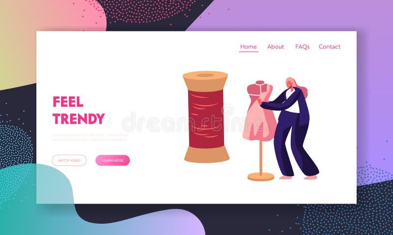Fato ou desenhador de moda Projecting Garment na página da aterrissagem do Web site do manequim, mulher que costura a roupa, cost ilustração stock
