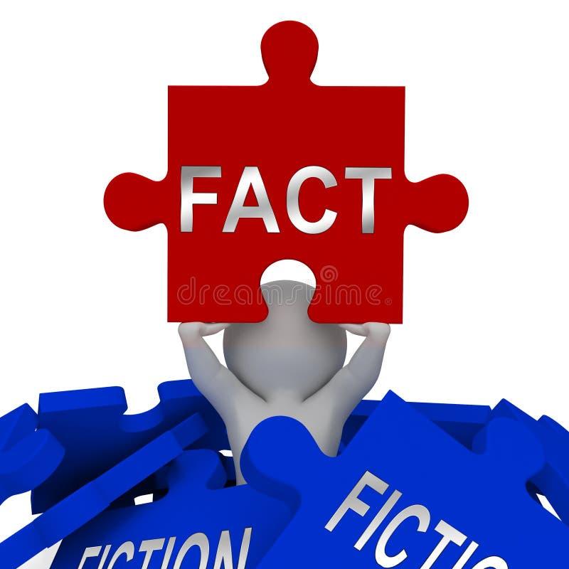 Fato Vs Fiction Jigsee Representa Autenticidade Versus Rumor E Decepção - Ilustração 3d ilustração do vetor