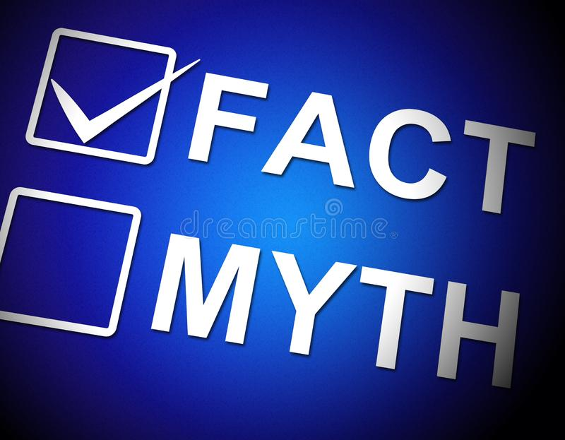 Fato Vs Mito Palavra Descreve Realidade Verdadeiramente Versus Dolo - Ilustração 3d ilustração royalty free