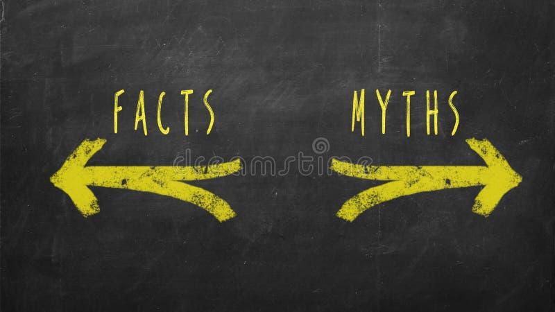 Fatos contra mitos foto de stock
