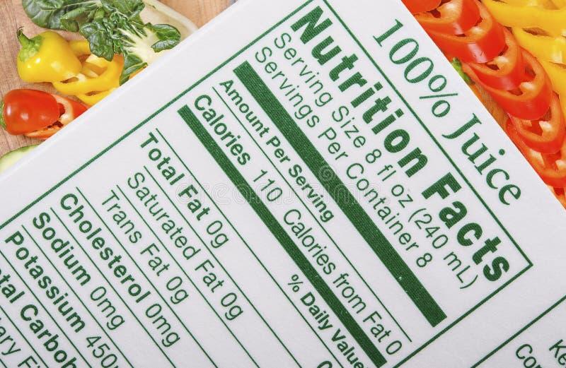 Fatos da nutrição imagens de stock