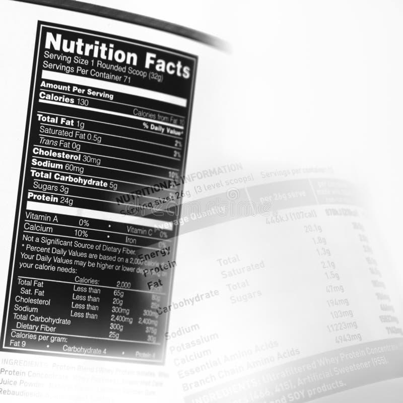 Fatos da nutrição fotografia de stock royalty free