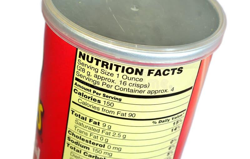 Fatos da nutrição das microplaquetas de batata imagem de stock royalty free