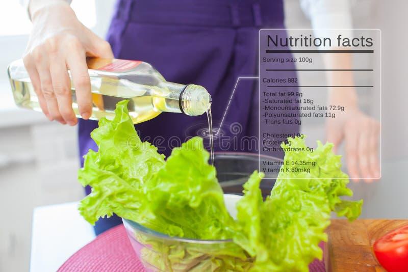 Fatos da nutrição do azeite foto de stock