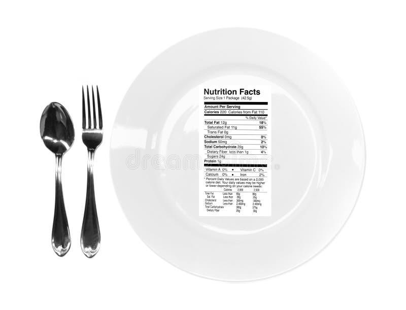 Fatos da nutrição em sua placa imagens de stock