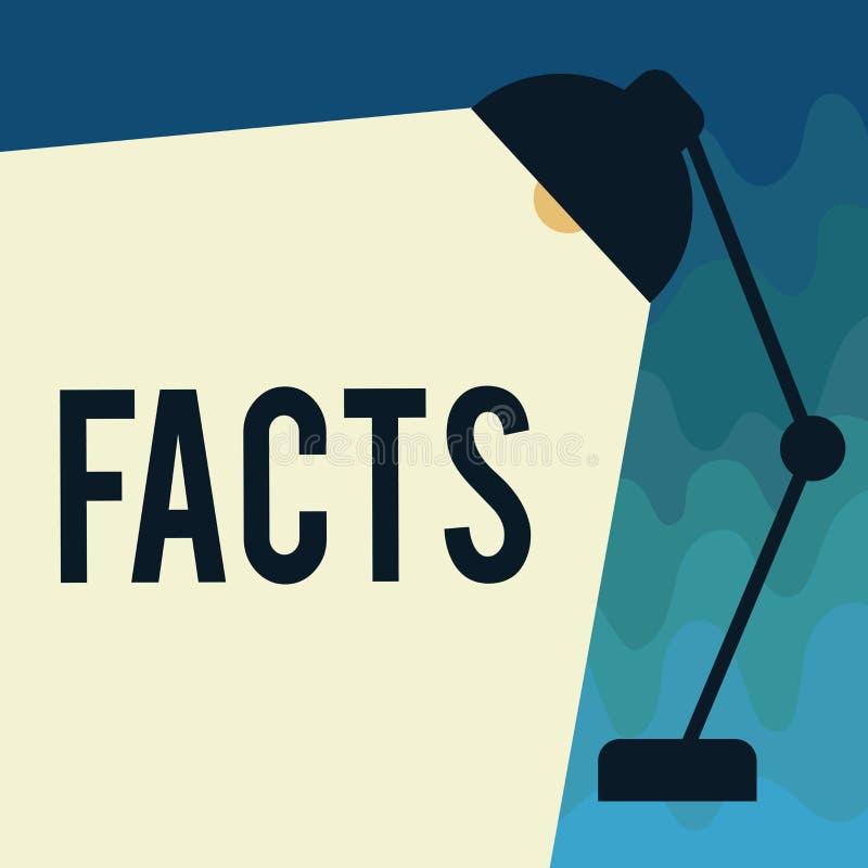 Fatos do texto da escrita Informação do significado do conceito usada como a evidência ou a parte do blogue do artigo noticioso d ilustração royalty free