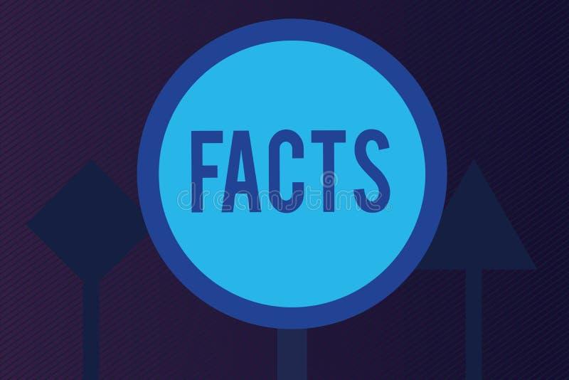 Fatos do texto da escrita da palavra Conceito do negócio para a informação usada como a evidência ou a parte do blogue do artigo  ilustração royalty free