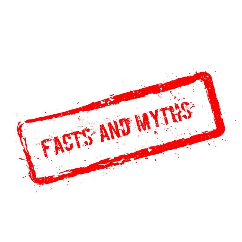 Fatos e carimbo de borracha vermelho dos mitos isolado sobre ilustração do vetor