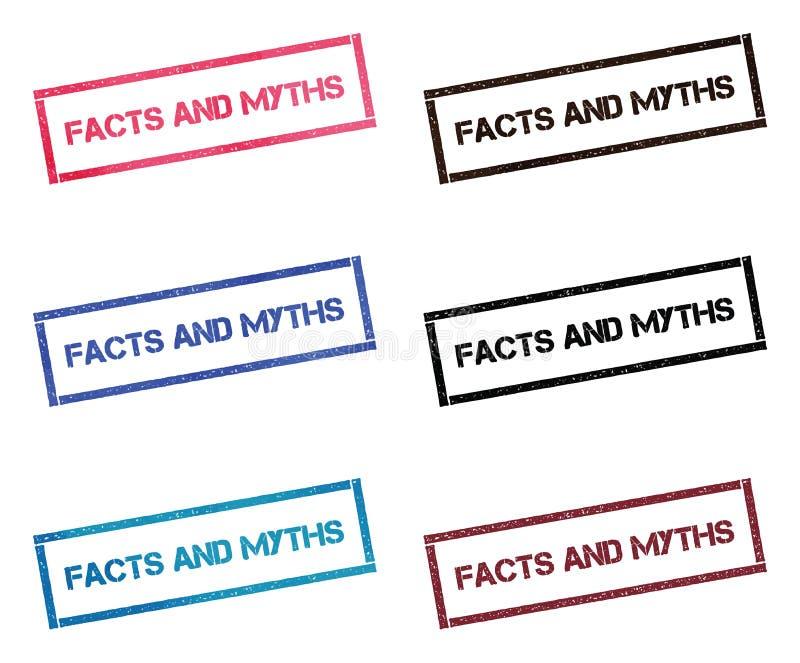 Fatos e coleção de selo retangular dos mitos ilustração royalty free