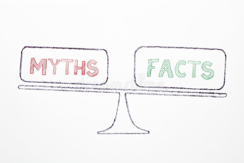 Fatos e conceito dos mitos ilustração stock