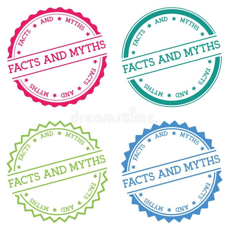 Fatos e crachá dos mitos isolado no branco ilustração do vetor