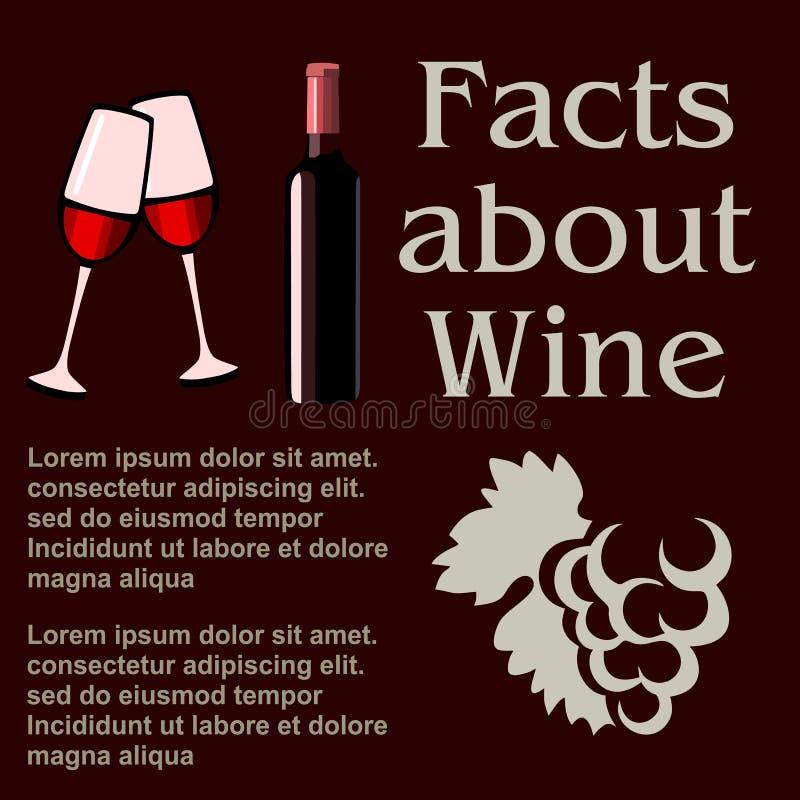 Fatos sobre o vinho, projeto liso do cartaz, molde ilustração royalty free