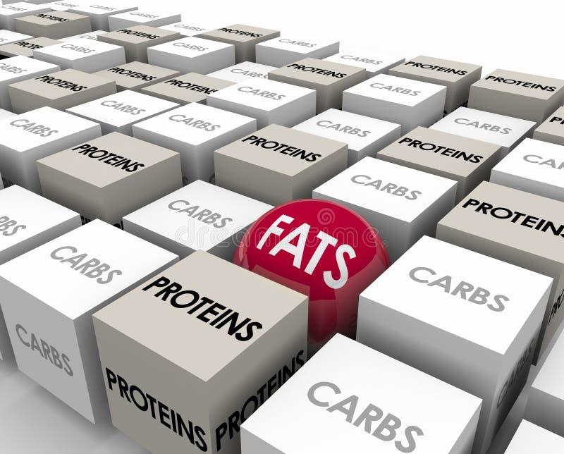 Fats Proteins Carbs Reduce Calories förlorar vikt stock illustrationer