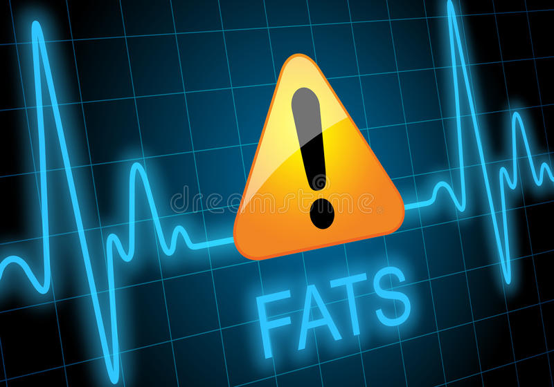 FATS - written on heart rate monitor with danger sign. FATS - written on heart rate monitor expressing warning on heart condition - Dealth hazard - Unheathy diet vector illustration