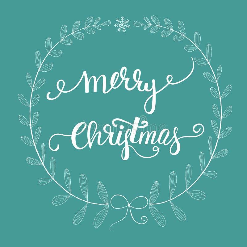 Fattar den knapphändiga vita kransen för frihandsblyertspennaklottret sidapilbågesnöflingan Borstebokstäver för glad jul Mörk tur royaltyfri illustrationer