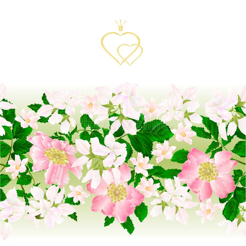 Fattar den sömlösa bakgrundsäppelrosen för blom- gräns med sidor och blomman av den lösa rosa tappningvektorillustrationen för br vektor illustrationer