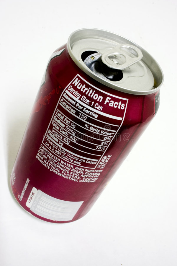Fatti di nutrizione della soda immagini stock