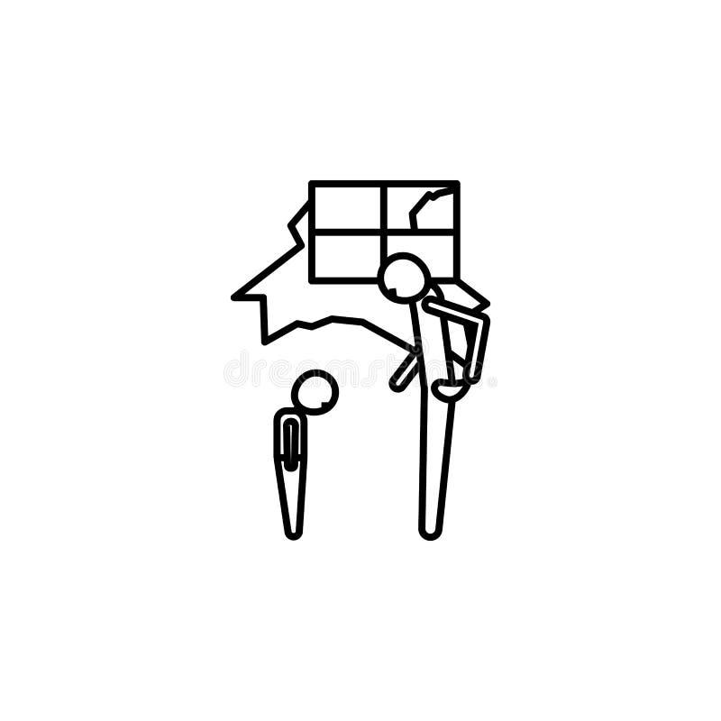 Fattig fader och ledsen barnsymbol Beståndsdel av symbolen för socialt liv för armod för mobila begrepps- och rengöringsdukapps G stock illustrationer