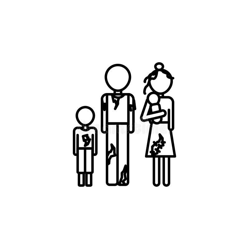 Fattig familjsymbol Beståndsdel av symbolen för socialt liv för armod för mobila begrepps- och rengöringsdukapps Den tunna linjen royaltyfri illustrationer