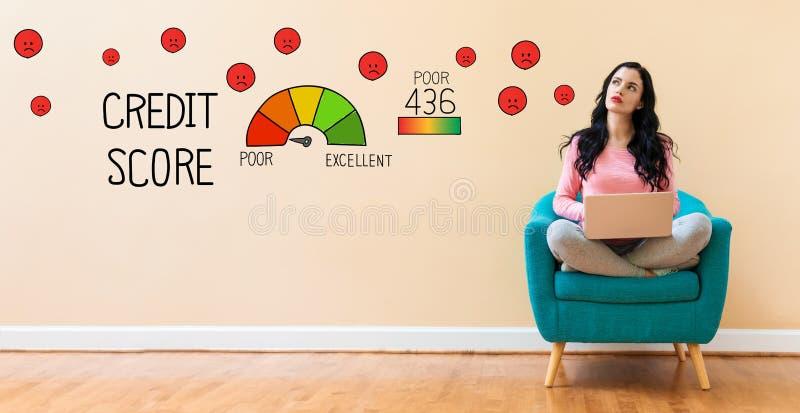 Fattig krediteringsställning med kvinnan som använder en bärbar dator royaltyfri bild