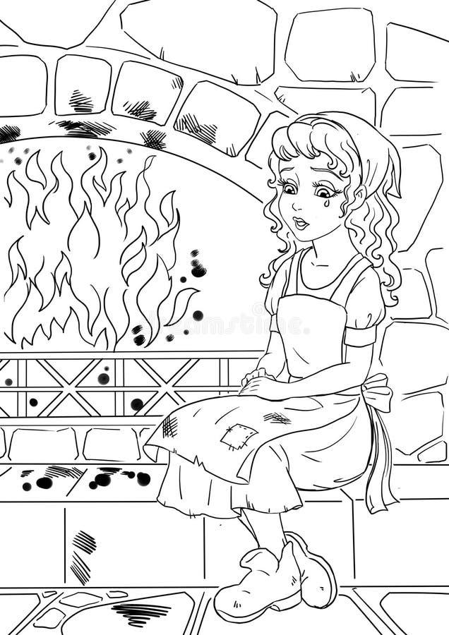 Fattiga Cinderella royaltyfri illustrationer