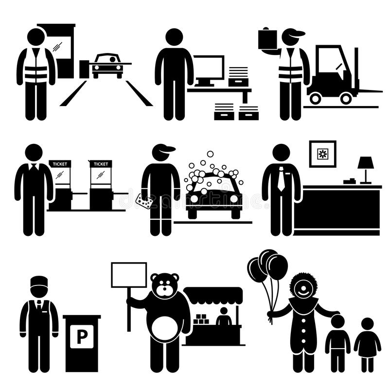 Fattiga låga karriärer för gruppjobbockupationer vektor illustrationer