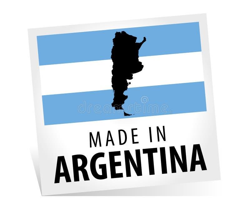 Fatto in Argentina con la bandiera e la mappa illustrazione di stock