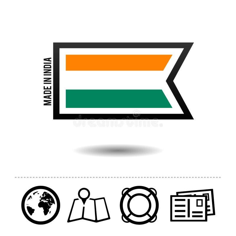 Fatto in bandiera dell'India con le icone di viaggio Vettore Eps10 illustrazione vettoriale